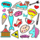 Fashion patch badges. With lips, hearts, speech bubbles,mermaid, unicorn, shoe, palette, brush, girl, bunny. Vector illustration isolated . Set of stickers royalty free illustration