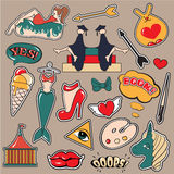 Fashion patch badges. With lips, hearts, speech bubbles,mermaid, unicorn, shoe, palette, brush, girl, bunny. Vector illustration . Set of stickers, pins stock illustration
