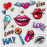 Fashion patch badges with lips, hearts, speech bubbles, stars and love elements. Fashion patch badges with lips, hearts, speech bubbles, stars and other elements royalty free illustration