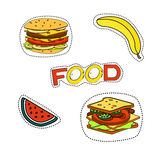 Fashion patch badges with lips, hearts, speech bubbles, stars and other elements.Vector Stock Image