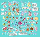 Fashion patch badges with lips, hearts, speech bubbles, stars and unicorns. Set of stickers, pins, patches in cartoon. 80s-90s comic style royalty free illustration