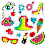 Fashion patch badges with lips, kiss, heart, star, ice cream, lipstick, eye, shit, rainbow. Vector background  with cute s Royalty Free Stock Image
