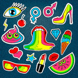 Fashion patch badges with lips, kiss, heart, star, ice cream, lipstick, eye, shit, rainbow. Vector background over denim with cute Royalty Free Stock Photos