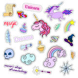 Fashion patch badges. Magic set. Stickers, pins, patches, cute  collection with unicorn and rainbow. 80s-90s comic style. Fashion patch badges. Magic set Stock Photos