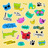 Fashion patch badges. Pop art Cat and dog set. Stickers, pins, patches handwritten notes collection in cartoon 80s-90s Royalty Free Stock Photo
