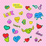 Fashion patch badges. Pop art Hearts set. Stickers, pins, patches and handwritten notes collection in cartoon 80s-90s Royalty Free Stock Photos
