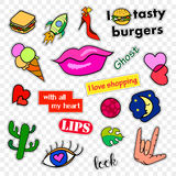 Fashion patch badges. Pop art set. Stickers, pins, patches and handwritten notes collection in cartoon 80s-90s comic Stock Images