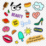 Fashion patch badges. Pop art set. Stickers, pins, patches and handwritten notes collection in cartoon 80s-90s comic Royalty Free Stock Image