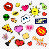 Fashion patch badges. Pop art set. Stickers, pins, patches and handwritten notes collection in cartoon 80s-90s comic. Fashion patch badges. Stickers, pins Stock Photography
