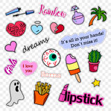 Fashion patch badges. Pop art set. Stickers, pins, patches and handwritten notes collection in cartoon 80s-90s comic. Fashion patch badges. Stickers, pins Stock Image