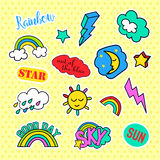 Fashion patch badges. Pop art Sky set. Stickers, pins, patches and handwritten notes collection in cartoon 80s-90s comic. Fashion patch badges. Sky set. Stickers Royalty Free Stock Photos