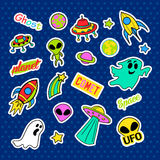 Fashion patch badges. Pop art UFO set. Stickers, pins, patches and handwritten notes collection in cartoon 80s-90s comic Royalty Free Stock Photography