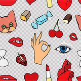 Fashion patch badges seamless pattern. Lips, kissing, open mouth, hearts, hands. Vector illustration of sweet girl patches . Set of textile stickers pins. 80 Stock Photo