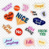 Fashion patch badges. Set with phrases. Stickers, pins, patches and handwritten notes collection in cartoon 80s-90s Royalty Free Stock Photos