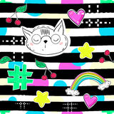 Fashion patch badges in sketch comics style. Abstract seamless pattern. Hearts, rainbow, star, cat other elements on repeated stri Royalty Free Stock Images
