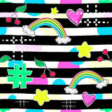 Fashion patch badges in sketch comics style. Abstract seamless pattern. Hearts, rainbow, star other elements on repeated stripes b Stock Photos