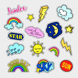 Fashion patch badges. Sky set. Stickers, pins, patches and handwritten notes collection in cartoon 80s-90s comic style Stock Photos