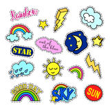 Fashion patch badges. Sky set. Stickers, pins, patches and handwritten notes collection in cartoon 80s-90s comic style Royalty Free Stock Photo