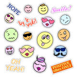 Fashion patch badges. Smiles set. Stickers, pins, patches and handwritten notes collection in cartoon 80s-90s comic Royalty Free Stock Photography