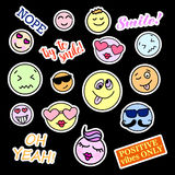 Fashion patch badges. Smiles set. Stickers, pins, patches and handwritten notes collection in cartoon 80s-90s comic Royalty Free Stock Photos