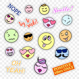 Fashion patch badges. Smiles set. Stickers, pins, patches and handwritten notes collection in cartoon 80s-90s comic Stock Photos