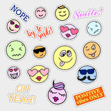 Fashion patch badges. Smiles set. Stickers, pins, patches and handwritten notes collection in cartoon 80s-90s comic Royalty Free Stock Image