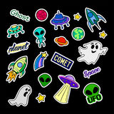 Fashion patch badges. UFO set. Stickers, pins, patches and handwritten notes collection in cartoon 80s-90s comic style Stock Image