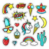 Fashion patch badges with unicorn, lips, hearts, stars, speech bubbles, rainbow; pineapple. Vector illustration in cartoon 80s-90s style royalty free illustration