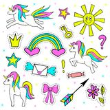 Fashion patch badges with unicorn, sun, crown, rainbow, and other elements for girls. Vector illustration isolated on Royalty Free Stock Photo