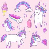 Fashion patch badges with unicorns Stock Photo