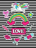 Fashion patch badges with unicorns, heart, lips, rainbow and other elements for girls. Striped background. Set of doodle stickers, Royalty Free Stock Photography