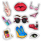 Fashion Patch Comic Style Set Royalty Free Stock Images