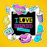 Fashion Patch Cool Disco Composition Poster Stock Photo