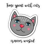 Fashion patch element grey cat Stock Photo