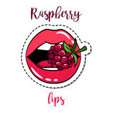 Fashion patch element lips with raspberry. Fashion patch element with quote, Raspberry lips. Vector illustration Stock Photography