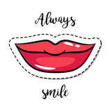 Fashion patch element smiling lips Stock Photography