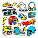 Fashion patches in cartoon 80s-90s comic style. vector illustration