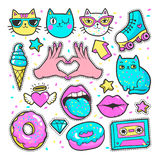 Fashion patches in cartoon 80s-90s comic style. Stock Photography