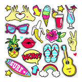 Fashion patches in cartoon 80s-90s comic style. Fashion summer patches with fruits, cocktail, surf board, guitar, sunglasses, etc. Vector illustration isolated Royalty Free Stock Photography