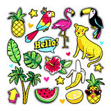Fashion patches in cartoon 80s-90s comic style. Fashion tropic patches with fruits, leopard, flamingo, toucan and other elements. Vector illustration isolated Royalty Free Stock Photos
