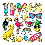 Fashion patches in cartoon 80s-90s comic style. Fashion tropic patches with fruits, leopard, flamingo, toucan and other elements. Vector illustration isolated Royalty Free Stock Photo