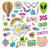 Fashion patches elements with alien, speech bubbles, cassette. Bright vector clip art. Cartoon stickers in 80s 90s comic Stock Photography