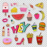 Fashion patches elements with sweets food and girly elements. Vector doodle funny badges. Modern vector clip art. Cartoon stickers in 80s 90s comic trendy Stock Photos