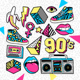 Fashion patches in in 80s-90s memphis style. Memphis Fashion patch badges with lips, sneakers, banana, triangle, etc. Vector illustration isolated on white Stock Images