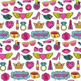 Fashion Patches Seamless Pattern公主 免版税库存图片