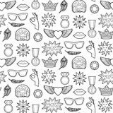 Fashion Patches Seamless Pattern. Seamless pattern of fashion coloring patches. Pin badges wallpaper. Black and white stickers collection. Textile print with Stock Image