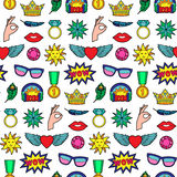 Fashion Patches Seamless Pattern. Seamless pattern of fashion patches. Pin badges wallpaper. Colorful stickers collection. Textile print with appliques for denim Royalty Free Stock Photo