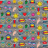 Fashion Patches Seamless Pattern. Seamless pattern of fashion patches on striped background. Pin badges wallpaper. Colorful stickers collection. Textile print Stock Image