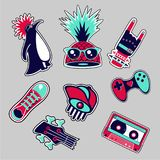 Fashion patches set. Bright bages collection. Youth style. royalty free illustration