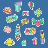 Fashion Patches  set. lightning, heart, lipstick, diamond, planet, rocket, air ballon, cloud,i love you, wow, pop. Stock Photography